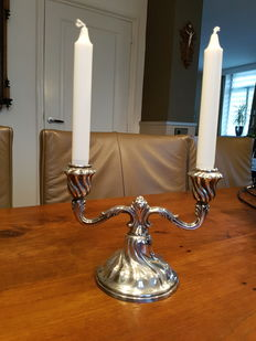 Silver two light candle stand, Norsk Filigransfabrikk, Norway, Oslo, 1st half 20th century