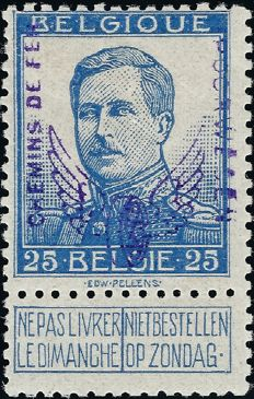 Belgium 1912 - Railway, 25 c Type Pellens, with winged wheel overprint, and  engraver's name - Signed -Certificate - CF51A.