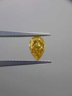0.61 Rare Pear Cut Diamond Fancy Intense Orangy Yellow SI1