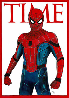 Spiderman by Diego Septiembre - TIME Magazine Cover - Original Drawing
