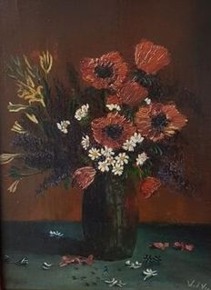 Willem v/d Ven (1898-1958) - Still life vase with flowers