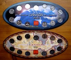 Canada - 25 Cents 1999 and 2000 'Millennium Editions' (26 pieces) in 2 sets - nickel