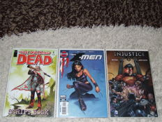 Comics - The Walking Dead Script Book, New X-Men #20 (X-23 Billy Tan Variant) & Injustice #1E (S.E. video game) - 3x SC - (2005/2012)