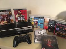 PS3 Console 40GB including Wireless Controller and 10 PS3 Games Like Uncharted 3 + Diablo and more