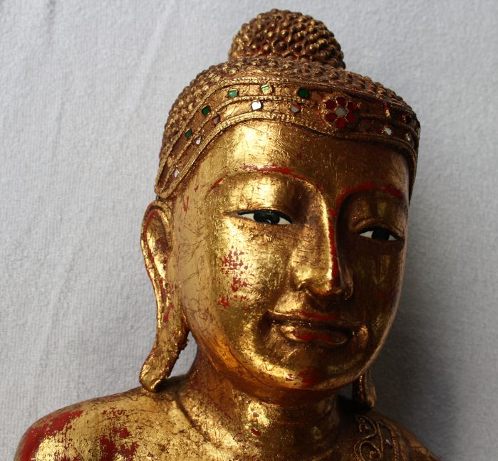 Gold-plated standing Buddha statue - Burma - second half of the 20th century (90 cm)