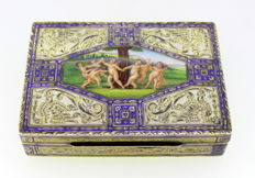 French Import Silver Box, With Hand Painted Enamel Naked Cherubs and Bird Engravings, Circa 1880