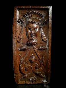 Oak panel with carving of an Indian with headdress - France - 17th century