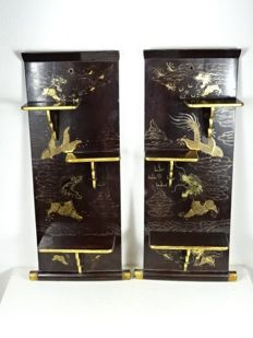 Two painted wooden foldable wall brackets - Japan - first half of the 20th century