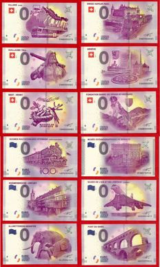 France - Special collector's collection of 12 souvenir banknotes of €0 - Years 2015-2017 - Special numbering below 100