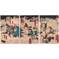"Three original woodblock prints in triptych ""Emizu sanka no yuki"" (Snow Like Falling Blossoms by the Water)  by Tsukioka Yoshitoshi (1839–1892) - Japan - 1871"