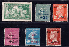 France 1927/1931 –  Selection of 6 stamps, Caisse d'Amortissement – Yvert no. 246, 247, 248, 254, 255 and 269.