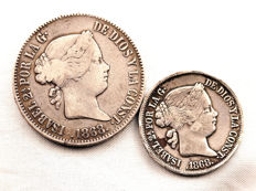 Spain - Isabel II - Lot of 50 and 20 peso Cents in Silver - 1868 - Manila