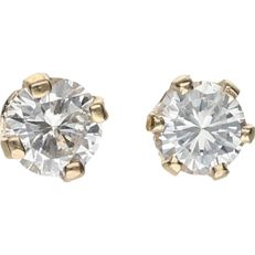 14 kt - Yellow gold solitaire ear studs each set with a round brilliant cut diamond of 0.10 ct in total per stud - Diameter: 4 mm - NO RESERVE