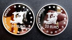 Finland - 20 (Pre) Euro coins 1996 and 1997 (2 different kinds) - silver