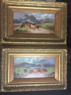 H Calvert (19th century) - A pair of landscapes with highland cattle