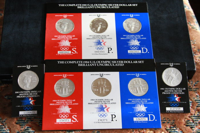 USA - 1 Dollar 1983 and 1984 'Collection of US Olympics coins 1983' - silver