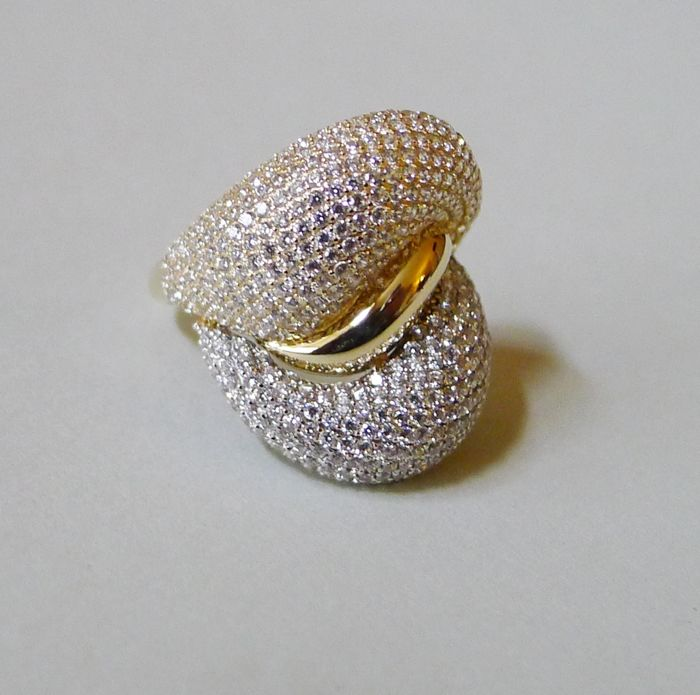 Bi-colour, 14 kt designer ring with cubic zirconia - ring size 18 - 56 - US 8 - No reserve
