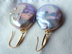 Baroque Freshwater Pearls earrings,approx 22 X 24.5 mm  assorted colours