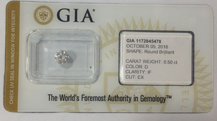 Round Brilliant Diamond 0.50 Carat , D IF,   Cert: GIA  #1968 -original image