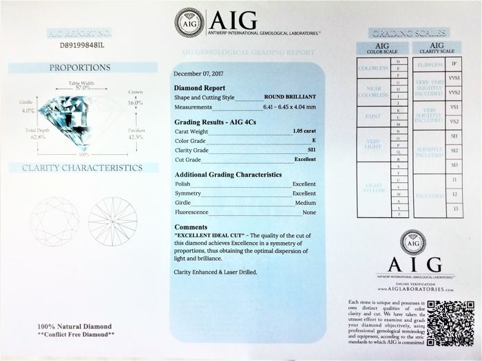 Round Brilliant Cut- 1.05 carat - E color - SI1 clarity- Comes With AIG Certificate + Laser Inscription On Girdle- 3 x EX.
