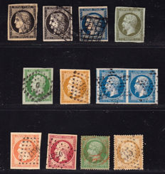 France 1849-1870 – Selection of  12 Classics  – Between Yvert no. 3 and 36.