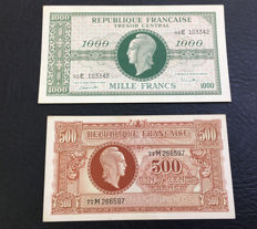 France - 500 and 1000 Francs 1944 - WWII - Pick 106 and 107