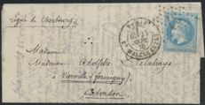"France 1870 – ""La Ville de Florence"" balloon mail, cancelled 23/SEPT./1870 for Vierville – Yvert no. 29B"
