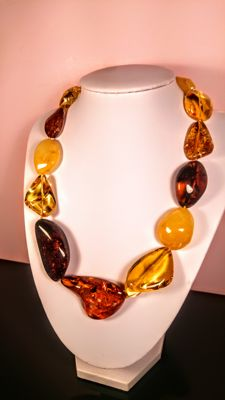 Multi colours 100% natural Baltic Amber necklace, 68 grams