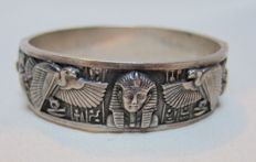 antique Art Deco silver bracelet with Egyptian motifs