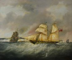 E Ellis (19th century) - The sailing vessel Alfred in the Dover Straits