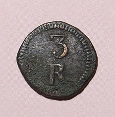 India – Portugal Monarchy – D. Maria II ( 1834-1853 ) – 3 Réis (DAGUINI) Goa – Copper