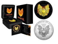 USA - 2 x $1 - US Mint - American Silver Eagle 2015 - Phoenix - Black Ruthenium + gilded (with box & certificate) + 1 oz Silver Eagle standard BU