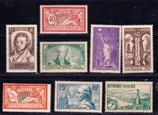France 1900/1935 – Selection of 8 stamps – Yvert  no. 119, 145, 301, 302, 303, 309, 310, 313.