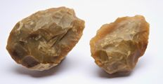 2 Middle Palaeolithic bifaces from France - 87 and 77 mm