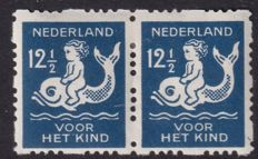 The Netherlands 1928 - Child syncopated perforation with 2 plate errors - NVPH R85 pair.