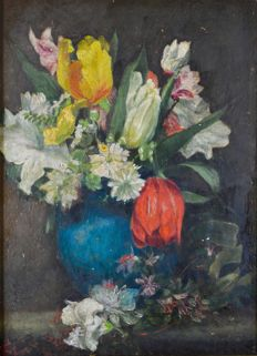 F.L. (19th century) - A still life of a vase of flowers