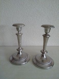 Two silver plated candlesticks, England