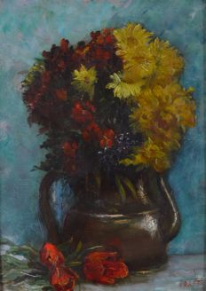 Porret (19th century) - A still life of a vase of flowers