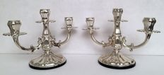 A pair of 3-flame Candelabra Italy, 20th century