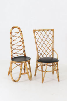 Designer unknown - Two Vintage bamboo seats