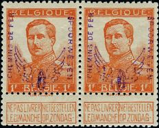 Belgium 1912 - Railway, a pair of 1 franc Type Pellens, with winged wheel overprint, and  engraver's name - Signed with certificate - COB CF55