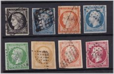 France 1849/1854 – classics selection – Yvert 3, 4, 5, 10, 12, 13, 16, 17