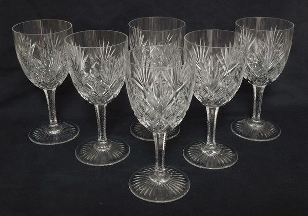 6 wine glasses - richly carved, Gavarni pattern - 12,8cm - Crystal