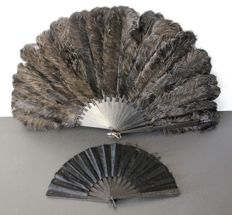 Lot of 2 old black fans including a marabout - Paris - circa 1920