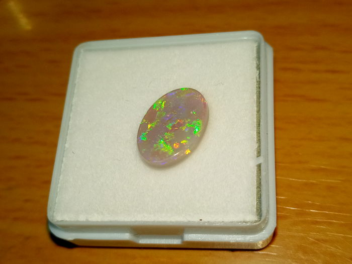 Fine Electric Flash Rainbow colors - Untreated 100% Natural Australian Lightning Ridge Opal Cab - 1.8 ct