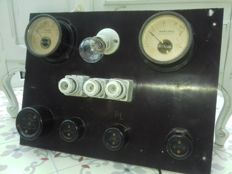 Unknown maker - Industrial board with voltmeter, ammeter, working light porcelain fuses - Bakelite