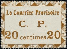 Belgium 1914 - Provisional post, 20 centimes, brown, perforated - LO 19.
