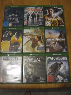 9 Xbox one games like:  Final fantasy(sealed) + Ghost recon + Watchdogs + Advanced warfare + the division + Fall out 4 and more