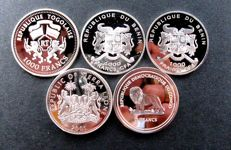 Benin, Congo, Sierra Leone and Togo - Lot various coins 2003/2005 'Wildlife' (5 pieces) - silver