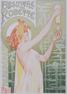 Privat Livemont - 'Absinthe Robette' original small lithograph poster from the 'Les Affiches Etrangères Illustrées' series